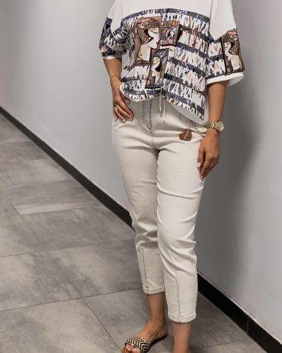 Блузка с принтом - белая Phardi