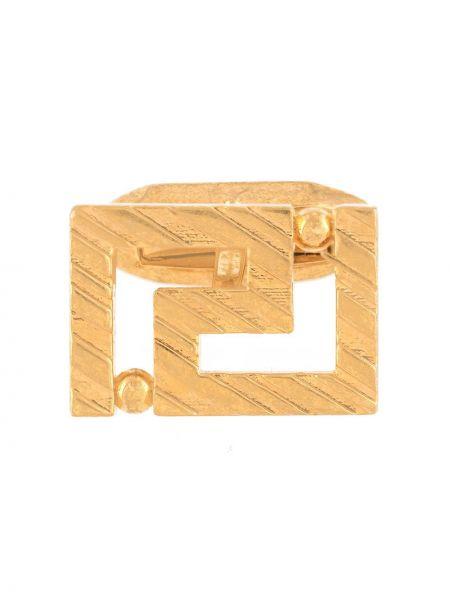 Золотистые желтые запонки металлические Versace