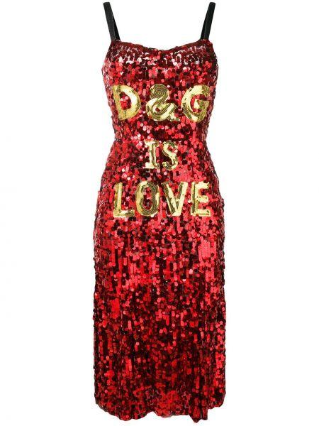 Шелковое платье годе с пайетками на бретелях на молнии Dolce & Gabbana