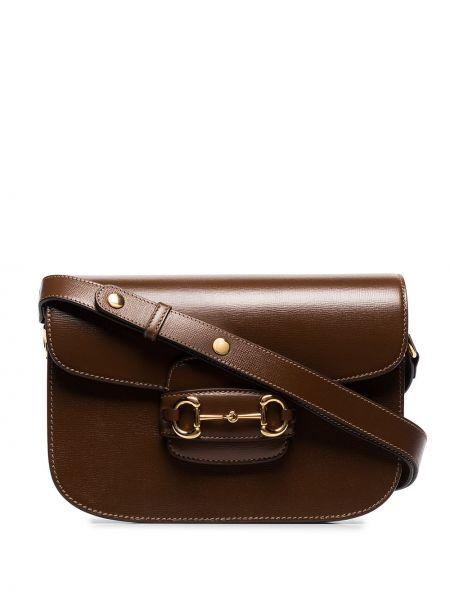 Brązowy skórzana torebka z prawdziwej skóry Gucci