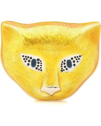 Żółta broszka ze srebra srebrna Gucci