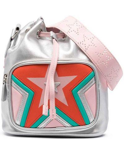 Серебряная сумка на плечо на молнии с аппликациями Stella Mccartney Kids