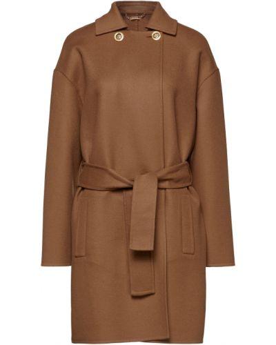 Коричневое шерстяное пальто двубортное Versace