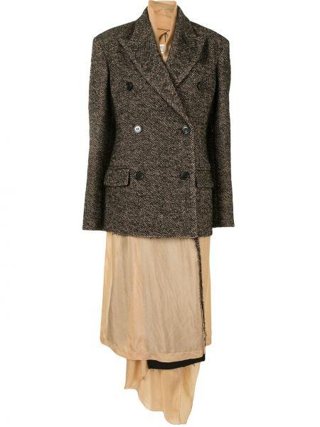Коричневое длинное пальто из альпаки двубортное Maison Margiela