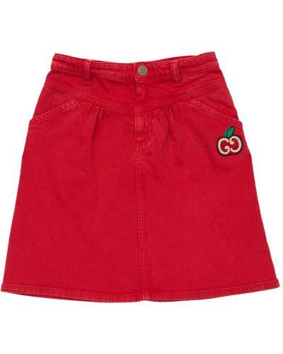 Bawełna bawełna spódnica rozciągać z haftem Gucci