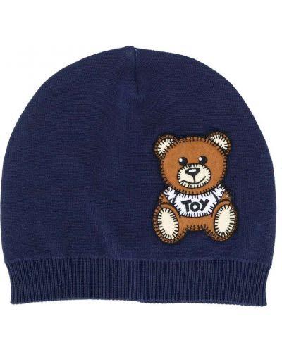 Prążkowana niebieska czapka bawełniana Moschino Kids