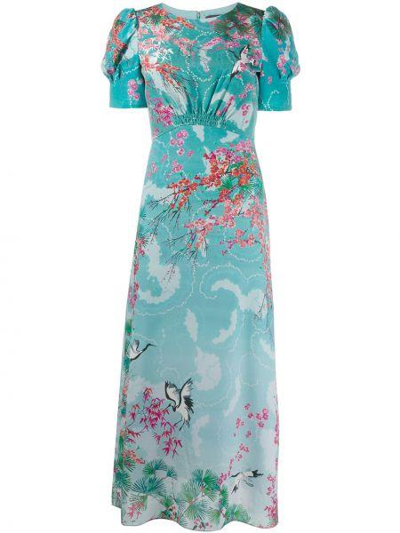 Платье мини с цветочным принтом с рукавами Saloni