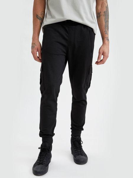 Брюки карго с накладными карманами - черные Defacto