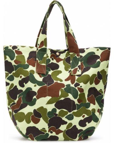 Ватная зеленая хлопковая сумка-тоут с заплатками Junya Watanabe Man