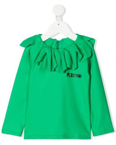 Зеленый топ на молнии с оборками Mini Rodini