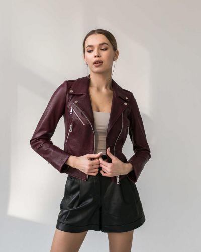 Кожаная куртка - бордовая без бренда
