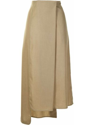 Шерстяная юбка миди - коричневая Goen.j