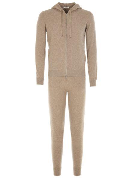 Костюмный кашемировый бежевый спортивный костюм с капюшоном Panicale