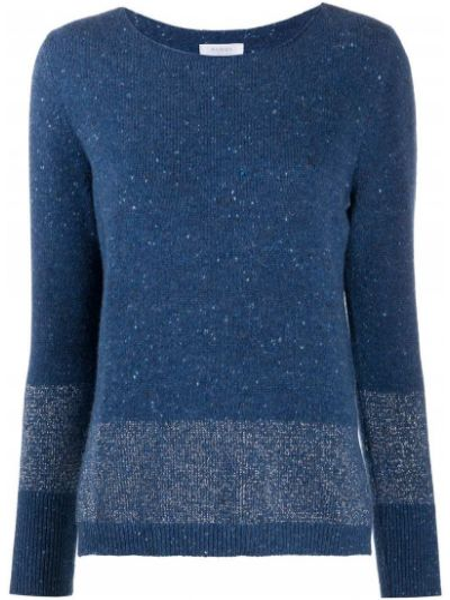 Кашемировый синий свитер с круглым вырезом круглый Barba