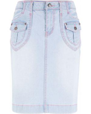 Джинсовая юбка голубой Bonprix