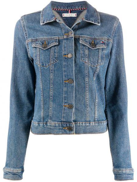 Джинсовая куртка на пуговицах с вышивкой Tommy Hilfiger