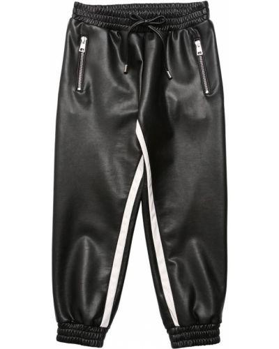 Skórzany czarny joggery z kieszeniami z mankietami Ermanno Scervino