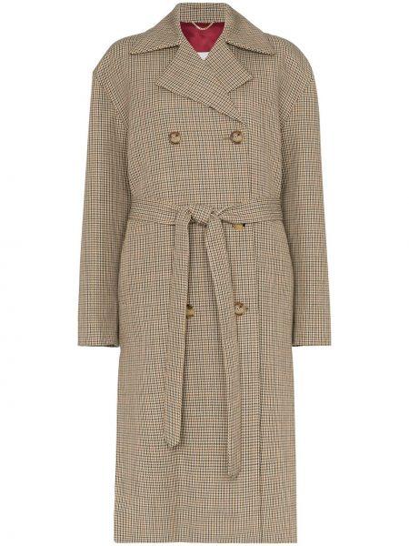 Шерстяное длинное пальто с капюшоном двубортное Magda Butrym