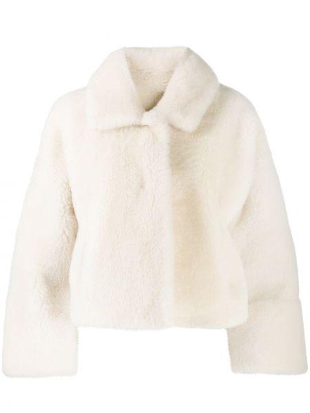 Белая длинная куртка из овчины с длинными рукавами Manzoni 24