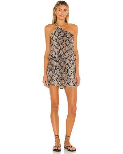 Коричневое платье с декольте на резинке Agua Bendita