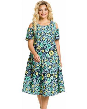 Свободное плиссированное платье миди с оборками с вырезом Novita