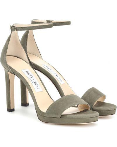 Zielony skórzany sandały Jimmy Choo