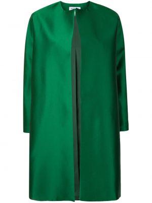 Шелковое зеленое длинное пальто с вырезом Dice Kayek