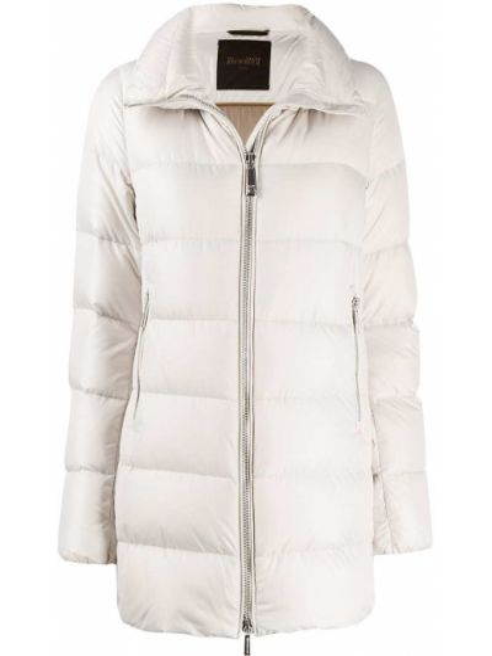 Пуховое коралловое длинное пальто с воротником с капюшоном Moorer