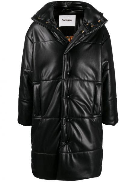 Czarny długi płaszcz z kołnierzem z kieszeniami z długimi rękawami Nanushka