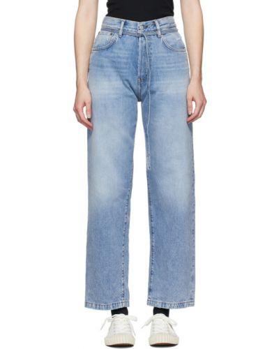 Niebieski skórzany jeansy o prostym kroju z kieszeniami z klamrą Acne Studios