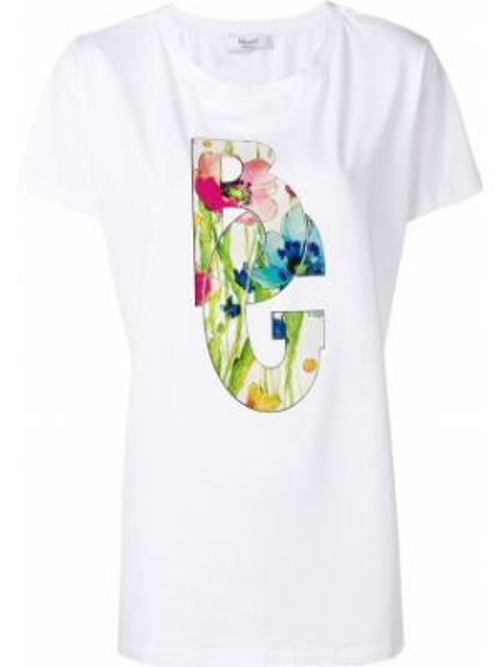Футбольная белая футболка с вырезом Blugirl