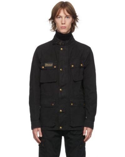 Czarny długa kurtka zabytkowe z mankietami z kołnierzem Belstaff