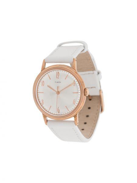 Zegarek na skórzanym pasku skórzany - biały Timex