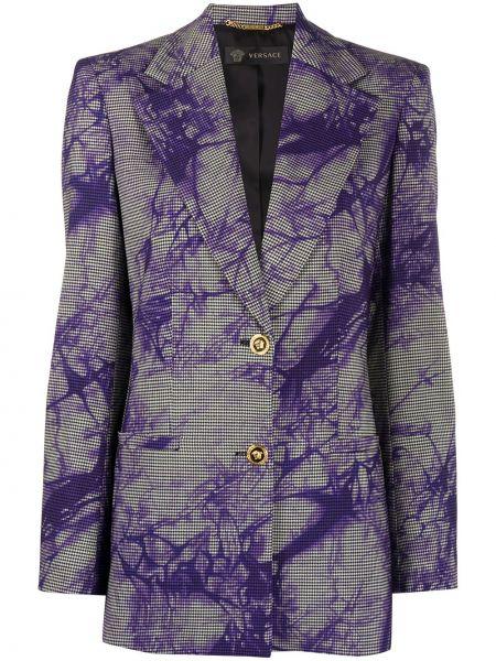 Шерстяной синий пиджак на пуговицах Versace