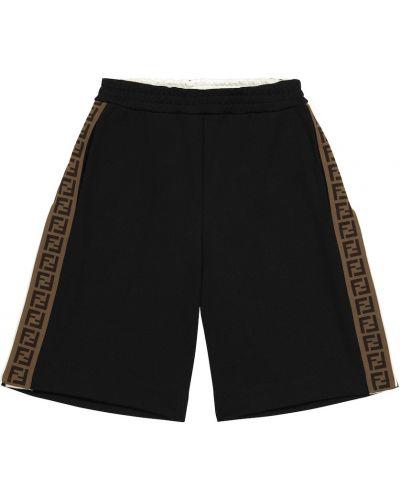 Czarne szorty bawełniane na co dzień Fendi Kids