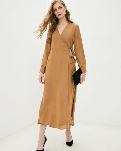 Коричневое платье с запахом Mango