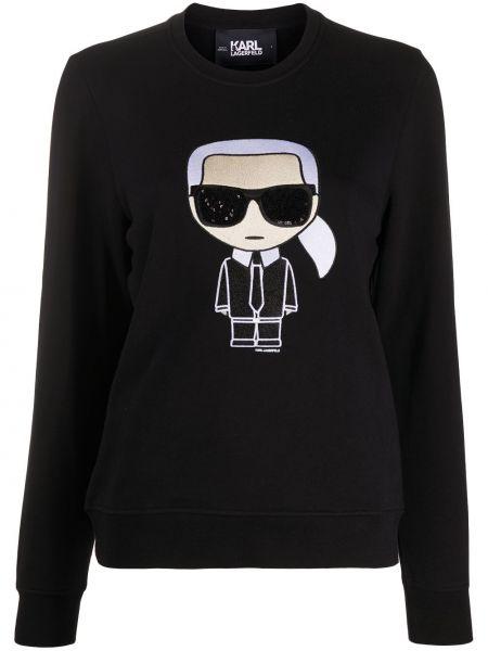 С рукавами черная толстовка с пайетками Karl Lagerfeld