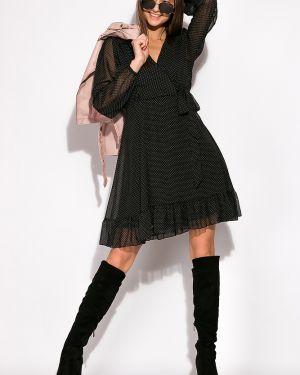 Платье с поясом шифоновое в горошек Time Of Style