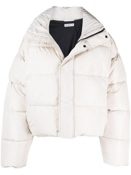 Biała długa kurtka z haftem z długimi rękawami Balenciaga