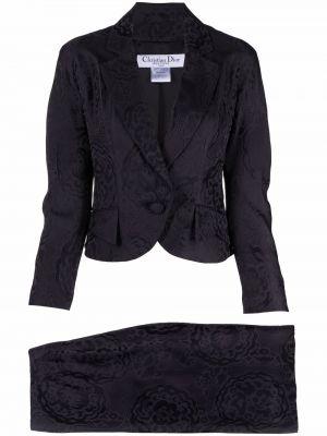 Черный костюм с лацканами Christian Dior