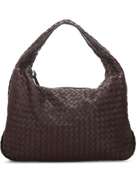 Золотистая коричневая сумка-тоут на молнии с карманами Bottega Veneta Pre-owned