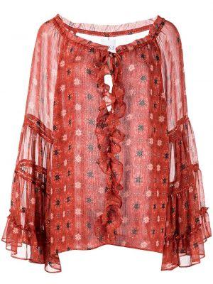 Блузка с принтом - оранжевая Misa Los Angeles