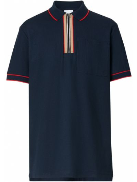 Prosto niebieski koszula z krótkim rękawem z kołnierzem z paskami Burberry