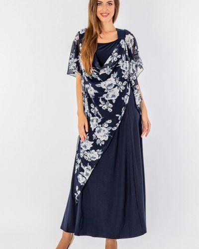 Вечернее платье осеннее синее Malena