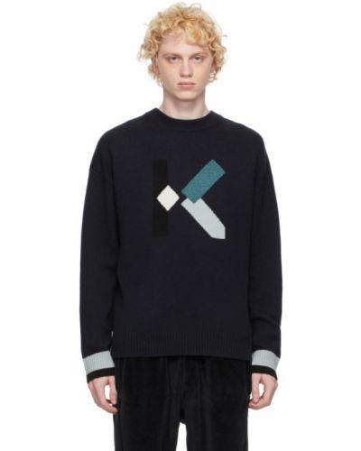 Z rękawami niebieski sweter z paskami z kołnierzem Kenzo