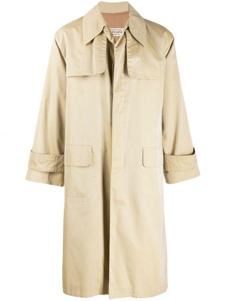 Однобортное шерстяное длинное пальто с воротником на пуговицах Pierre Cardin Pre-owned