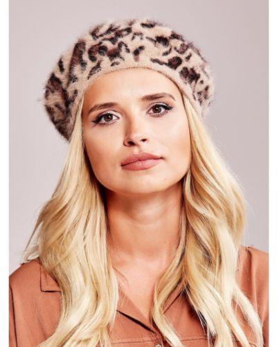 Brązowy beret z angory z printem Fashionhunters