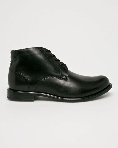 Кожаные ботинки на шнуровке высокие Wojas
