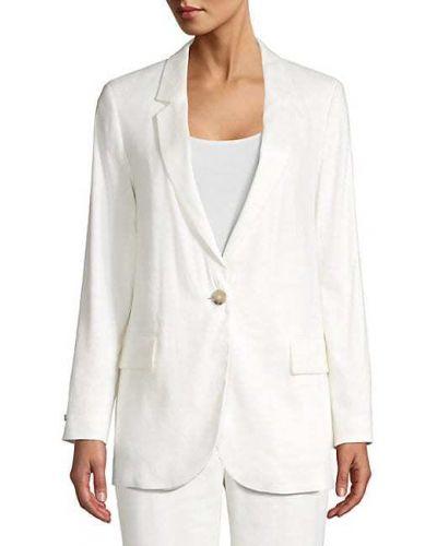 Льняной бежевый удлиненный пиджак с карманами Peserico