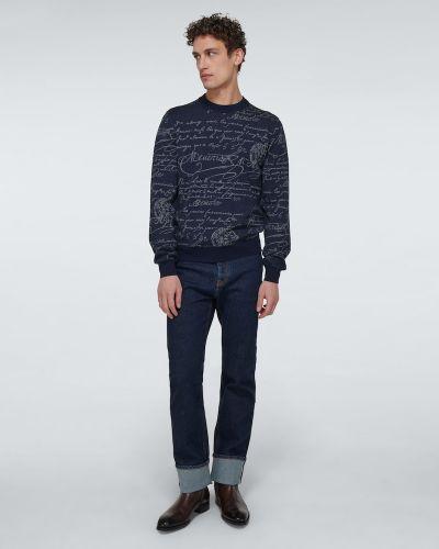 Klasyczny niebieski sweter wełniany Berluti
